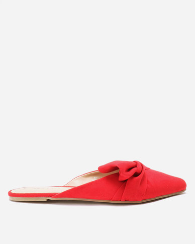 New Look Lottie Suedette Bow Mules Bright Red