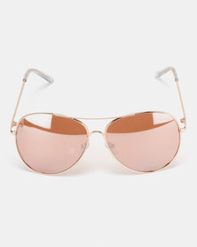 New Look Mirrored Pilot Sunglasses Rose Gold