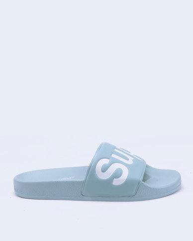 Superga Pastel PU Embossed Slides Dusty Blue