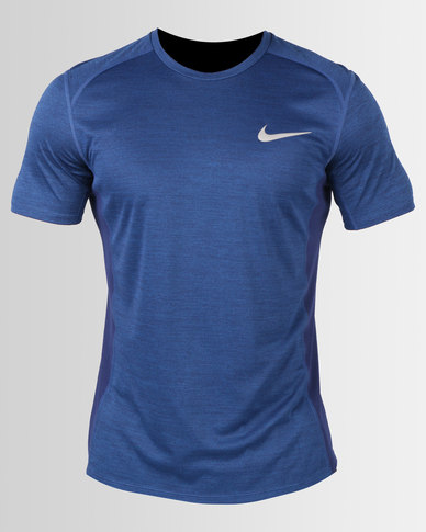 1d9a99c531 Nike Performance Nike Miler Short Sleeve Running Top Blue Void/HTR | Zando