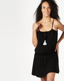 Lila Rose Short Grecian Knit Dress Black