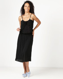 Lila Rose Long Grecian Rayon Dress Black