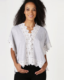 Lila Rose Lace Kaftan Knit Top Grey Melange