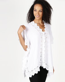 Lila Rose Lace Rayon Knit Kaftan Midi White