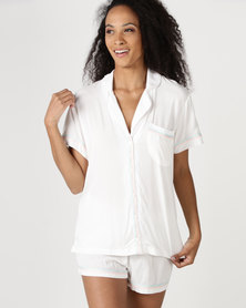Lila Rose Short Sleeve Rayon Short Set Milk