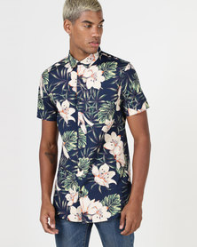 New Look Floral And Leaf Printed Shirt Navy
