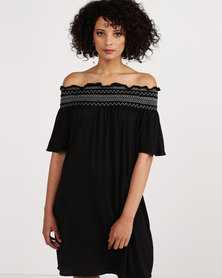 New Look Shirred Bardot Neck Beach Dress Black