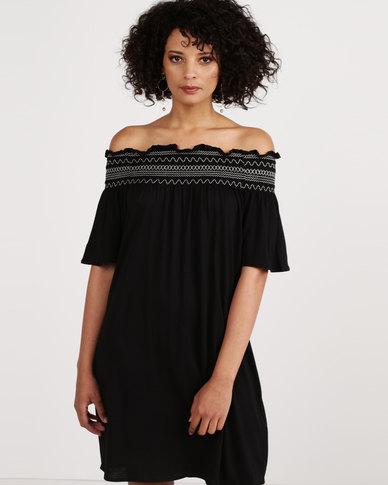 New Look Shirred Bardot Neck Beach Dress Black