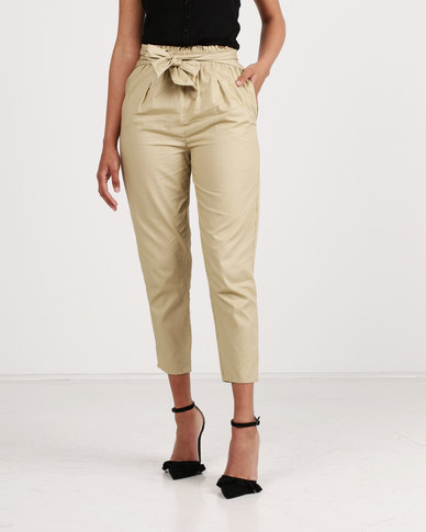 New Look Cotton Paperbag Waist Trousers Stone