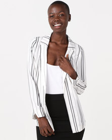 New Look Stripe Crepe Blazer White