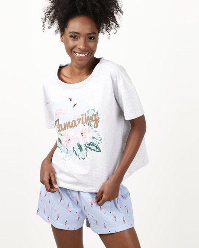 New Look Flamingo Print Pyjama Set Pale Blue