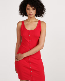 New Look Ribbed Button Front Bodycon Dress Red