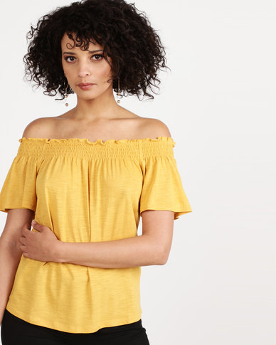 New Look Gathered Bardot Top Yellow