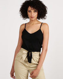 New Look Button Tie Front Cami Top Black