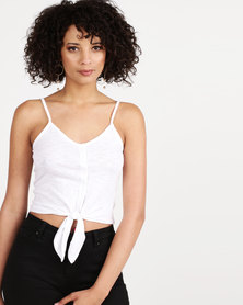 New Look Button Tie Front Cami Top White