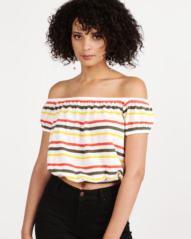 New Look Stripe Bardot Neck Knitted Crop Top White