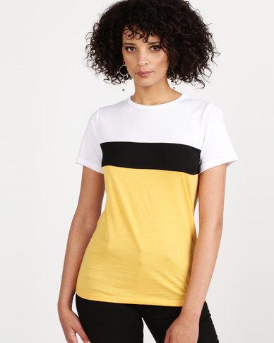 New Look Colour Block T-Shirt Mustard Yellow
