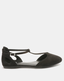 New Look Kar Suedette 2 Part Flats Black