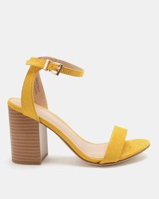 New Look Picnic Suedette Block Heels Dark Yellow