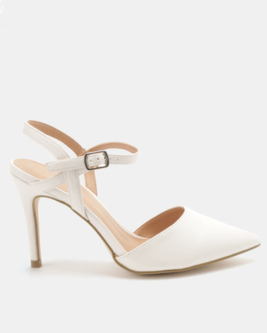 New Look Rue 3 PU Two Part Heels White