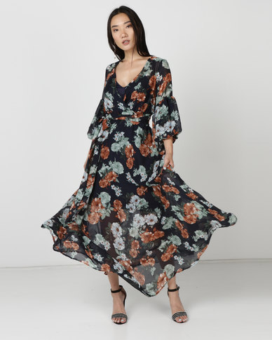G Couture Maxi Dress with Puff Sleeves Navy