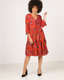 G Couture Tiered Lace-up Front Tunic Rust