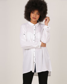 G Couture Long Shirt With Pocket Stitch White