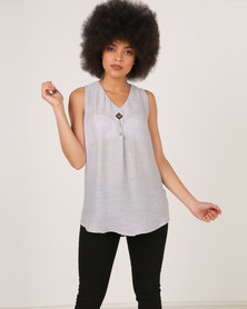 G Couture Shell Top with Chain Detail Silver