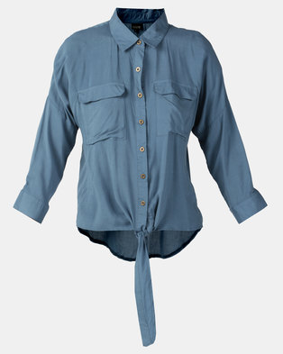 G Couture Button Down Shirt With Hem Tie Blue