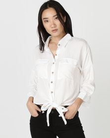 G Couture Button Down Shirt With Hem Tie White
