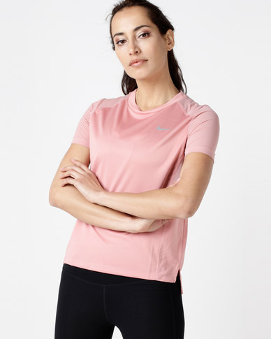 best website 284c3 9c223 Nike Performance Womens NK Miler Short Sleeve Top Rust Pink   Zando