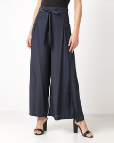 Revenge Tie Front Flared Trousers Navy