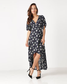 Revenge Flute Sleeve Maxi Dress Navy