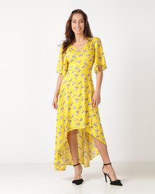 Revenge Flute Sleeve Maxi Dress Yellow