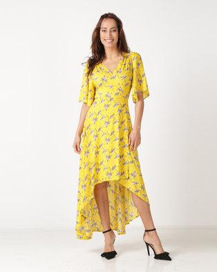 Revenge Flute Sleeve Maxi Dress Yellow