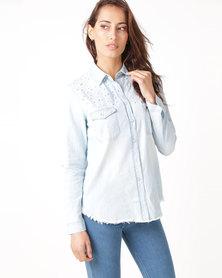 Revenge Pearl Detail Denim Shirt Light Blue