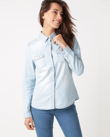 Revenge Pearl Pocket Detail Denim Shirt Light Blue