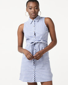 Revenge Sleeveless Stripe Dress White & Blue