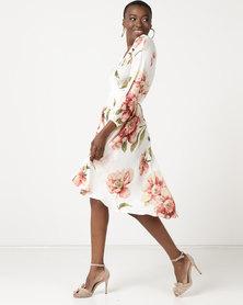 Revenge Floral Wrap Dress White