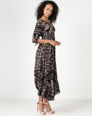 3f9e02431ca Revenge Maxi Dress 3 4 Sleeve Black
