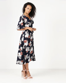 Revenge Maxi Printed Dress Navy