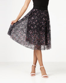 Revenge Flared Skirt With Elasticated Waist Multi Black