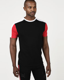 New Look Colour Block Muscle Fit T-Shirt Black