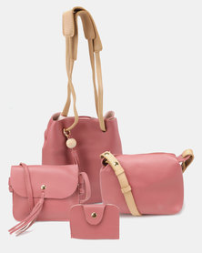 Utopia 4 Piece Tassle Bag Mink Beige