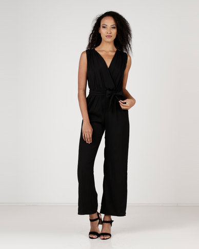 Utopia Wrap Front Jumpsuit Black