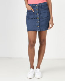 Utopia Denim Button Through Aline Skirt Blue
