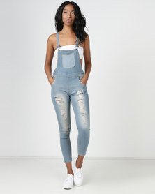 Utopia Dungaree With Abrasion Mid Blue