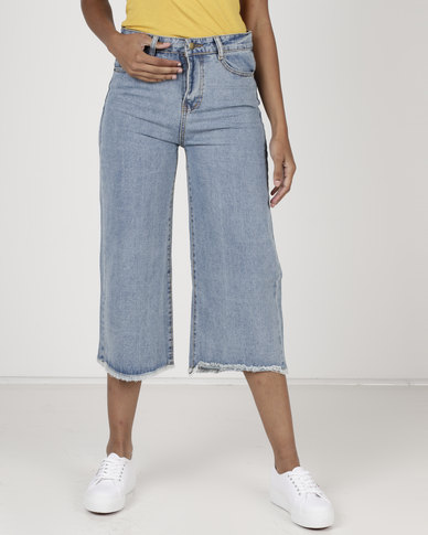 d2aba286 Utopia Denim Cropped Wide Leg Pants Blue | Zando