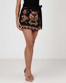 Utopia Embroidered Shorts Black