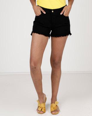 Utopia Cut Off Denim Shorts Black